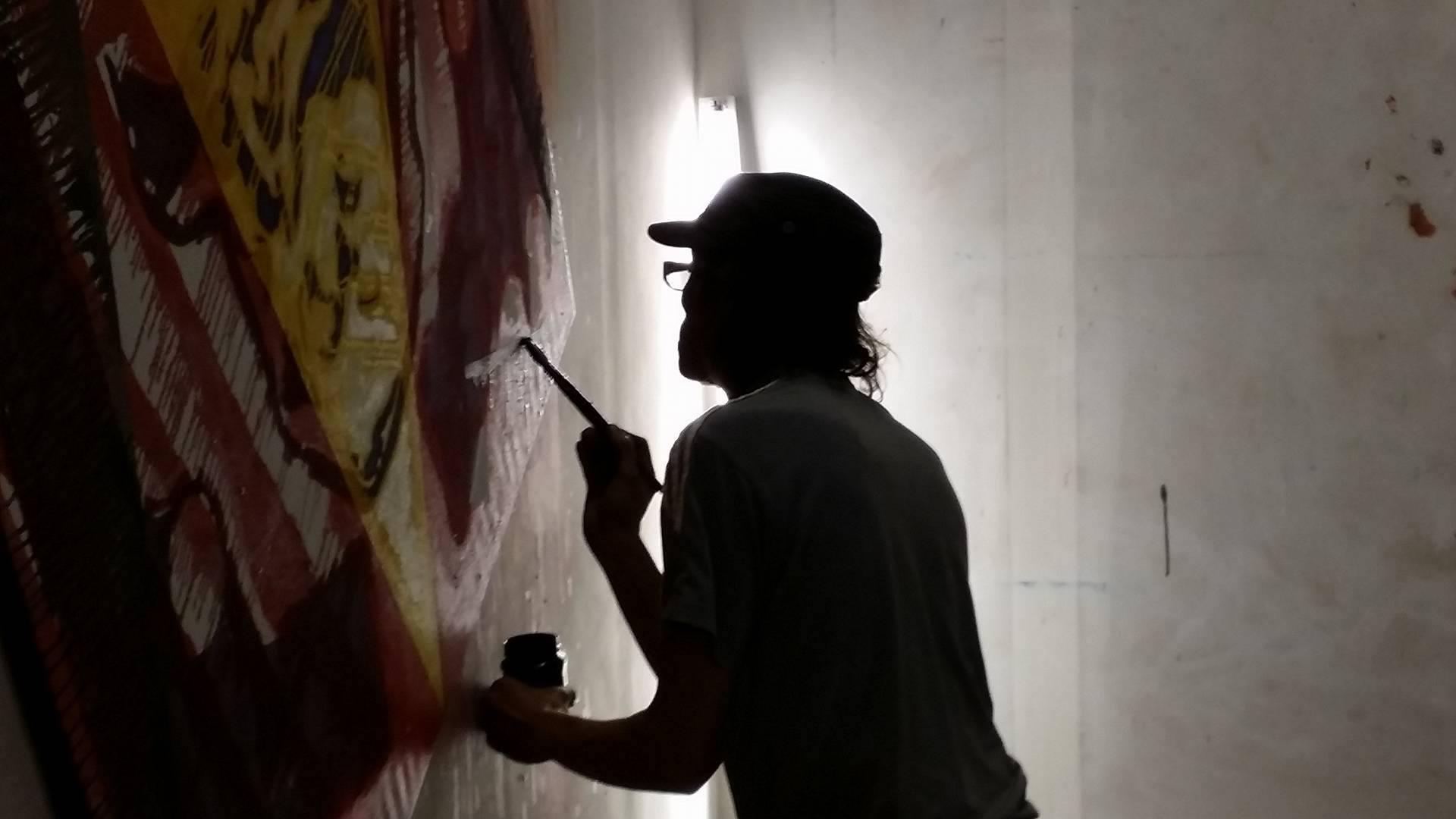 Aan het werk in het atelier